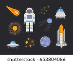 space exploration icons set ... | Shutterstock .eps vector #653804086