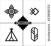 aztec tribal elements icons | Shutterstock .eps vector #653808553