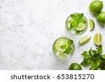 mojito cocktail alcohol bar... | Shutterstock . vector #653815270