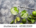 mojito cuba highball cocktail... | Shutterstock . vector #653815309