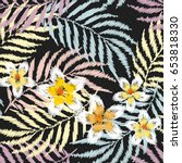 tropical embroidery seamless... | Shutterstock .eps vector #653818330