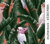 seamless tropical pattern.... | Shutterstock .eps vector #653819884