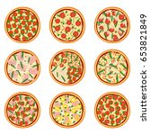 set of appetizing pizzas ... | Shutterstock .eps vector #653821849