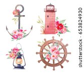 nautical icons with flowers.... | Shutterstock . vector #653824930