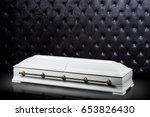 closed wooden white coffin... | Shutterstock . vector #653826430