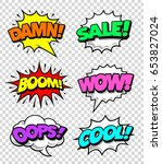 comic speech bubbles with... | Shutterstock .eps vector #653827024