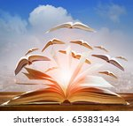 abstract of open book flying as ... | Shutterstock . vector #653831434