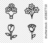 bouquet icons set. set of 4... | Shutterstock .eps vector #653837710
