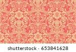 seamless damask pattern. red... | Shutterstock . vector #653841628