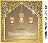 ramadan kareem greeting card.... | Shutterstock .eps vector #653843134