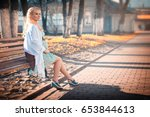 pregnant woman on the walk on... | Shutterstock . vector #653844613