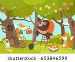 cute animals harvesting   Shutterstock .eps vector #653846599