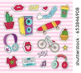 elements of patch badges in... | Shutterstock .eps vector #653846908