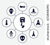 futuristic icons set. set of 9... | Shutterstock .eps vector #653848090