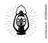 vintage hand drawn kerosene... | Shutterstock .eps vector #653856664