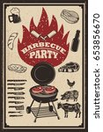 barbecue party flyer template.... | Shutterstock .eps vector #653856670