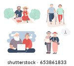 set of happy elderly couple.... | Shutterstock .eps vector #653861833