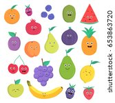 set of cute fruits and berries... | Shutterstock .eps vector #653863720