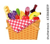 wicker picnic basket with... | Shutterstock .eps vector #653868859