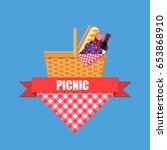 wicker picnic basket with... | Shutterstock .eps vector #653868910