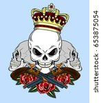 skull in a crown with a pistol... | Shutterstock .eps vector #653875054