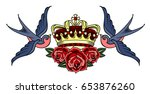 swallows carrying a crown and... | Shutterstock .eps vector #653876260