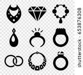 jewelry icons set. set of 9... | Shutterstock .eps vector #653876308