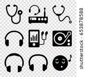 listen icons set. set of 9... | Shutterstock .eps vector #653878588