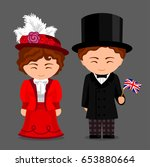 british in national dress with... | Shutterstock .eps vector #653880664