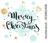 merry christmas handwriting...   Shutterstock .eps vector #653881408
