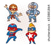 cartoon superhero character... | Shutterstock .eps vector #653881864