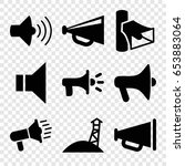 megaphone icons set. set of 9... | Shutterstock .eps vector #653883064