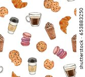 watercolor hand painted coffee... | Shutterstock . vector #653883250
