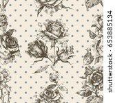 rose vintage seamless pattern   Shutterstock .eps vector #653885134