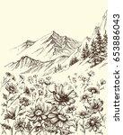 mountain landscape  flowers... | Shutterstock .eps vector #653886043