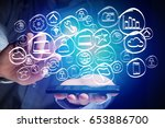 view of a technology hand drawn ... | Shutterstock . vector #653886700