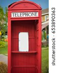 old red wooden telephone box... | Shutterstock . vector #653890363