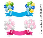 ribbon and balloons gradient... | Shutterstock .eps vector #653890390