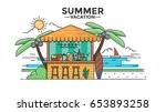 flat line design of beach bar.... | Shutterstock .eps vector #653893258