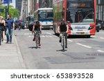 new york city   june 2017  bike ... | Shutterstock . vector #653893528