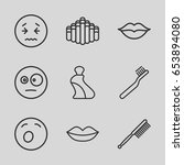 mouth icons set. set of 9 mouth ... | Shutterstock .eps vector #653894080