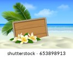 wooden signboard with rope... | Shutterstock .eps vector #653898913