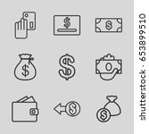 dollar icons set. set of 9... | Shutterstock .eps vector #653899510