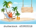 beach with palm trees and... | Shutterstock .eps vector #653905318