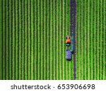aerial view of tractor... | Shutterstock . vector #653906698