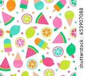 colorful tropical fruit and... | Shutterstock .eps vector #653907088
