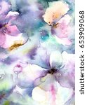 floral background. watercolor... | Shutterstock . vector #653909068