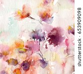 floral background. watercolor... | Shutterstock . vector #653909098