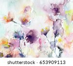 floral background. watercolor... | Shutterstock . vector #653909113