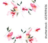 floral background. watercolor... | Shutterstock . vector #653909656